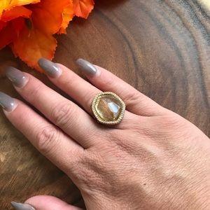 Chloe & Isabel Gold Tone Jeweled Ring sz:7
